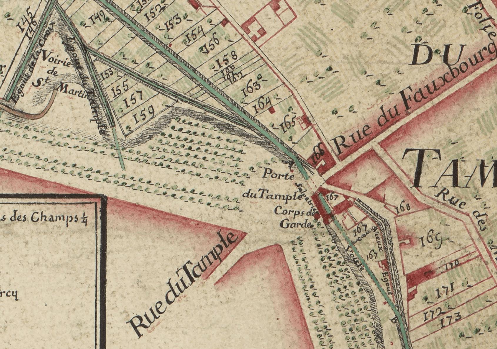 """(Extrait) """"Plan du grand égout découvert avec ses ambranchement, depuis le pont aux choux jusqu'à la Savonnerie au bas de Chaillot... avec le détail des héritages sur lesquels passe ledit égout. Le grand égout s'exécutte actuellement sous les ordres de M. Turgot, Prevost des marchands et avec les dessein du S. Beausire,..."""" ;1738 (Source : Ville de Paris / BHVP ; cote G 149-2)"""