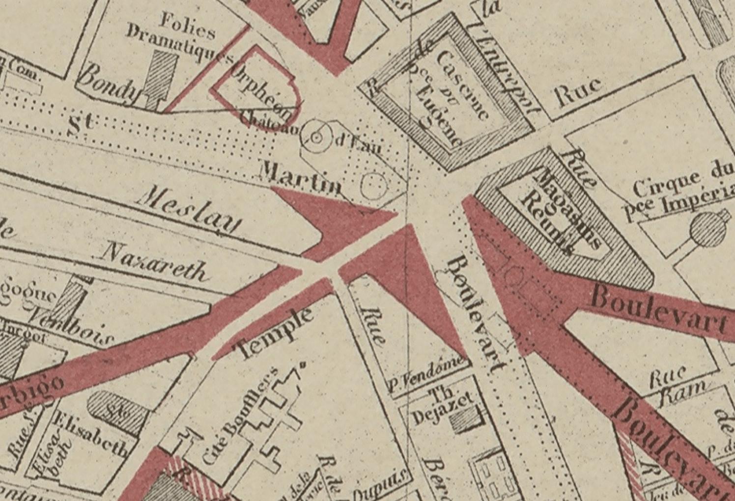 (Extrait) Plan d'ensemble des travaux de Paris indiquant les voies exécutées et projetées de 1851 à 1867. Publié par E. Andriveau-Goujon