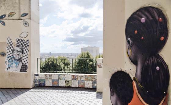 Graffitis de Seth au belvedere de Belleville sur un poteau