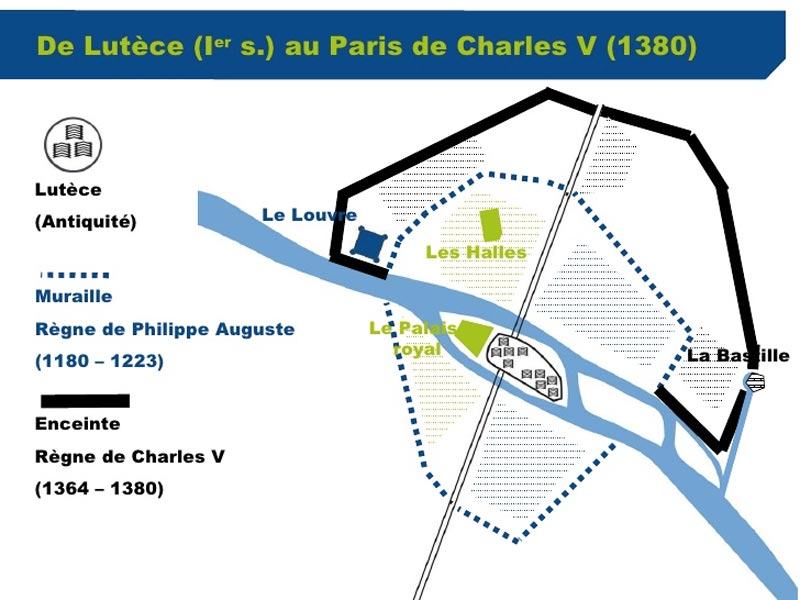Tracés des 3 premières enceintes protectrices de Paris dont Charles V.