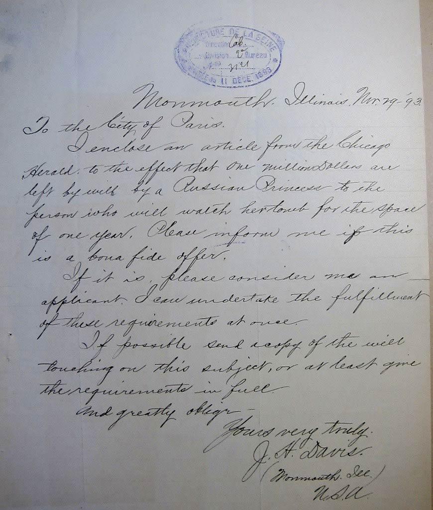 Archives de Paris 1326W11 - lettre de candidature pour la veillée de la comtesse Demidoff