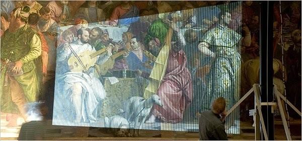 """Utilisation de la technologie pour la reproduction du tableau """"Les Noces de Cana"""""""