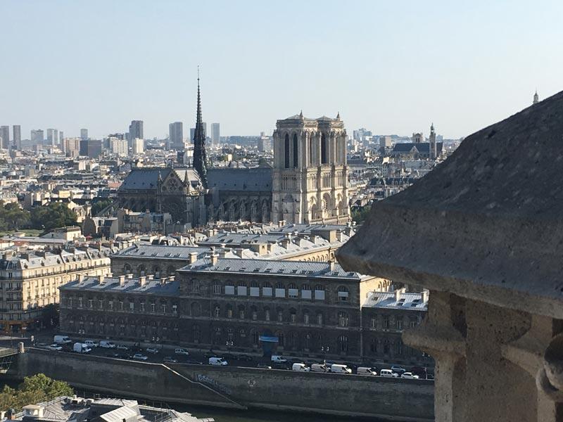 Vue de Notre-Dame depuis le toit de la Tour Saint-Jacques