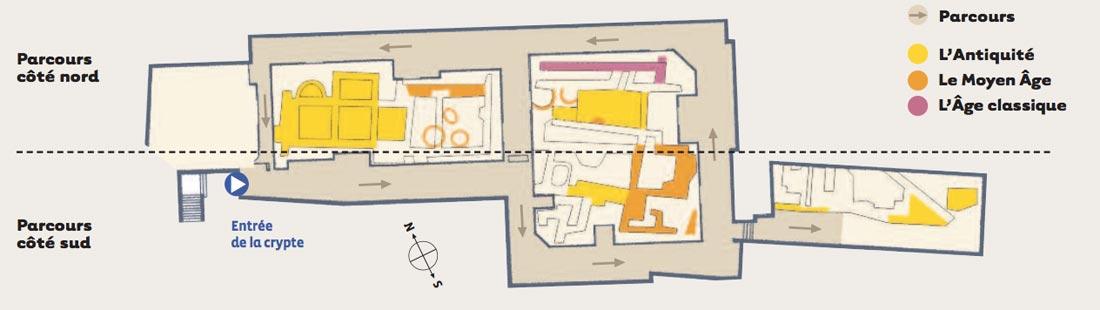 Plan de la crypte de Notre-Dame