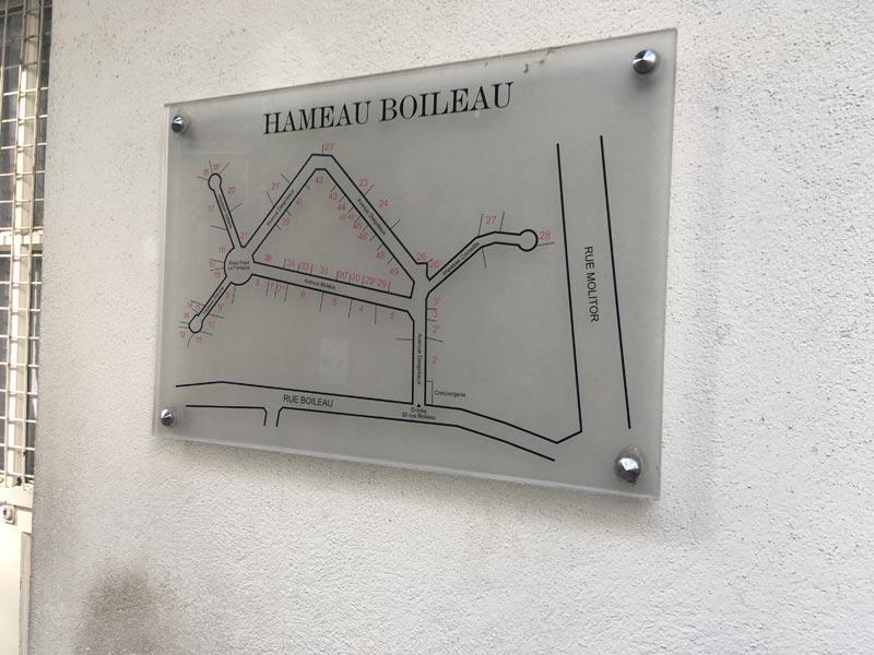 Plan du Hameau Boileau qui nous donne un aperçu de la grandeur de la propriété.