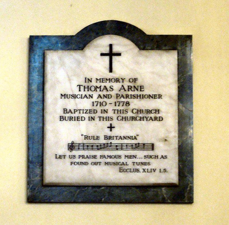 Le musicien thomas Arne enterré en l'Eglise Saint-Paul.