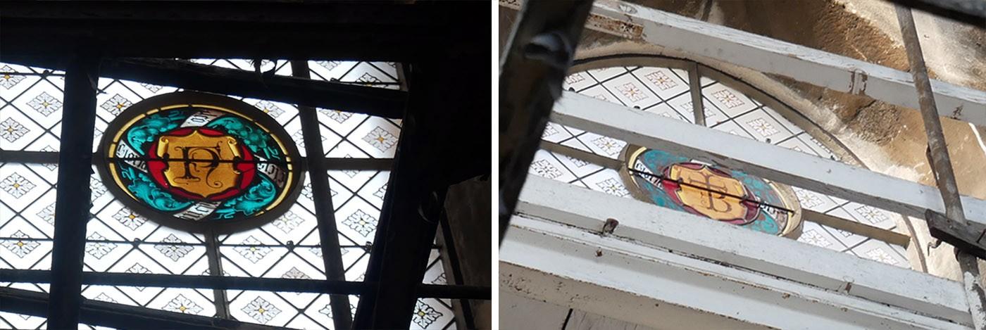 Monogrammes NF (Nicolas Flamel) et TB (Théodore Ballu) visibles depuis la plateforme de la Tour Saint-Jacques - copyright culturezvous.com