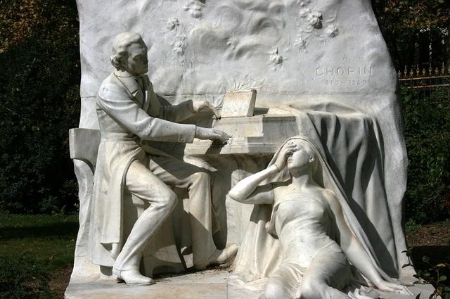 Sculpture de Jacques Froment-Meurice représentant Fréderic Chopin au piano, composant la marche funèbre.